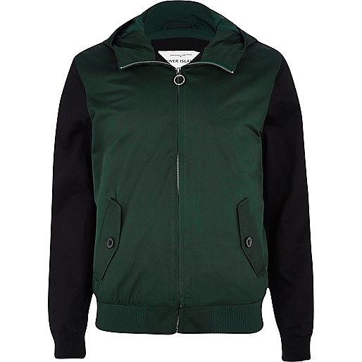 Dark green colour block hooded casual jacket