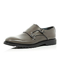 Grey monk strap round toe shoes