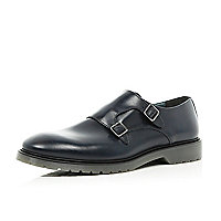 Navy blue monk strap round toe shoes