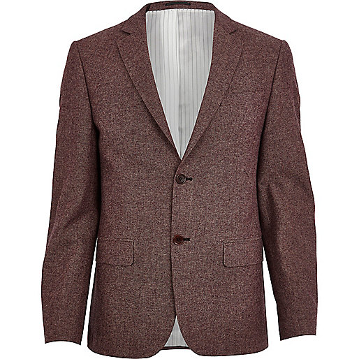 Dark red textured blazer