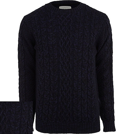 Navy chunky cable knit jumper