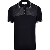 Navy mesh yoke polo shirt