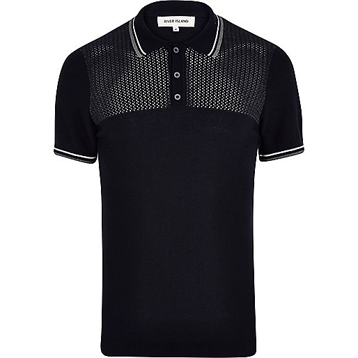 Navy mesh yoke polo shirt