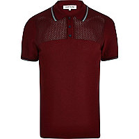 Red mesh yoke polo shirt