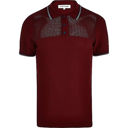 Red mesh yoke polo shirt