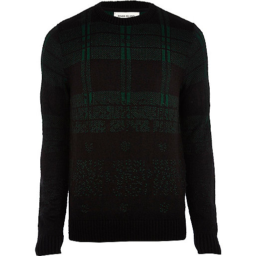 Dark green brushed check jumper