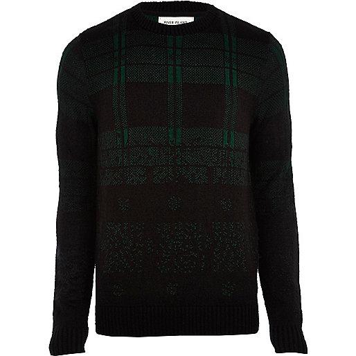 Dark green brushed check jumper