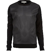 Black perforated leather-look jumper