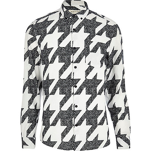 White large dogtooth print long sleeve shirt