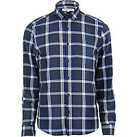 Navy box check long sleeve shirt
