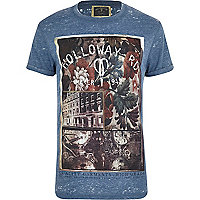 Blue burnout Holloway Road print t-shirt