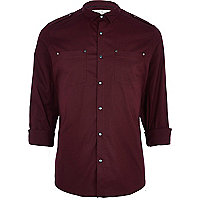 Dark red stretch military shirt