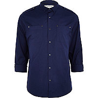 Navy blue stretch military shirt
