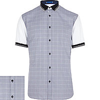 Grey check contrast sleeve shirt