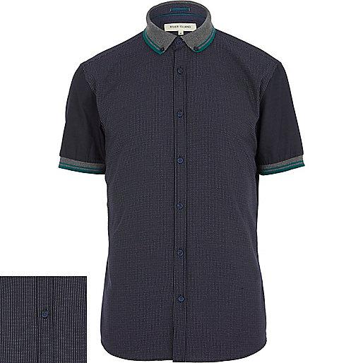 Navy polka dot contrast sleeve shirt