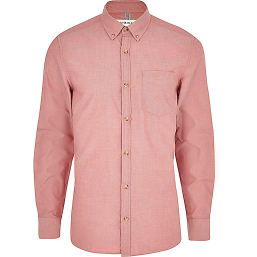 Light red long sleeve Oxford shirt