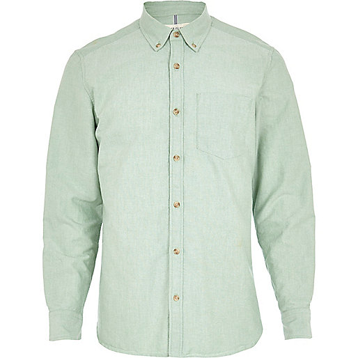 Light green yarn dye Oxford shirt