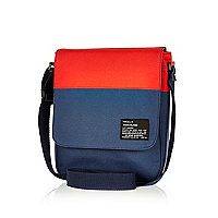 Navy two-tone nylon messenger bag
