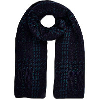 Dark green check scarf