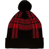 Red check bobble beanie hat