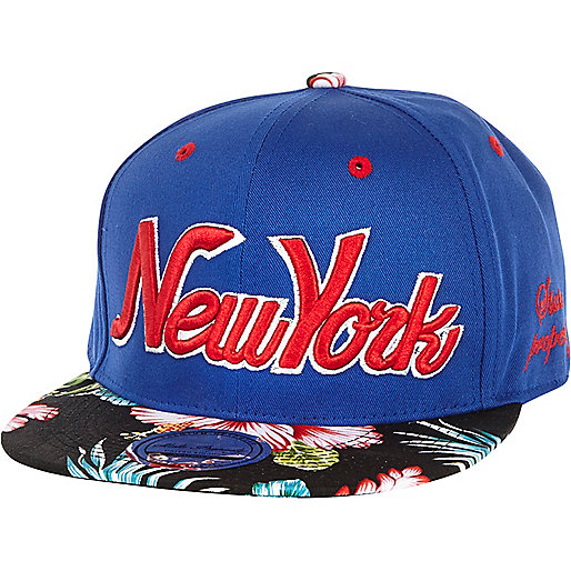 Blue New York floral peak trucker hat