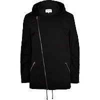 Black asymmetric zip parka jacket