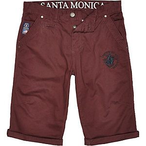 Red Santa Monica knee length shorts