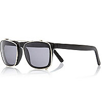 Black clip-on lens retro sunglasses