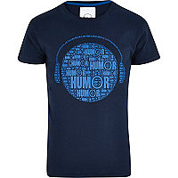 Blue Humor headphone print t-shirt