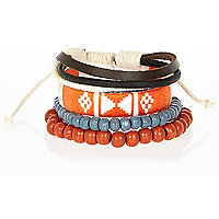 Orange aztec bracelet pack