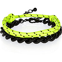 Black chain and bungee cord bracelet pack