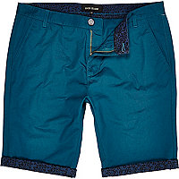 Teal leopard turn up shorts