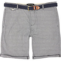 Grey tiny check turn up shorts