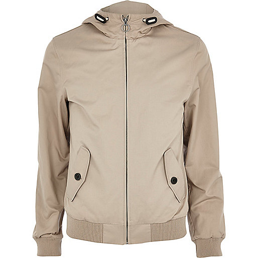 Light brown hooded casual jacket