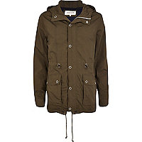 Khaki green casual parka jacket