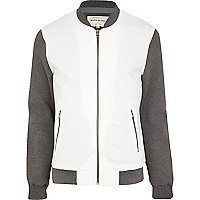 White textured contrast sleeve bomber jacket