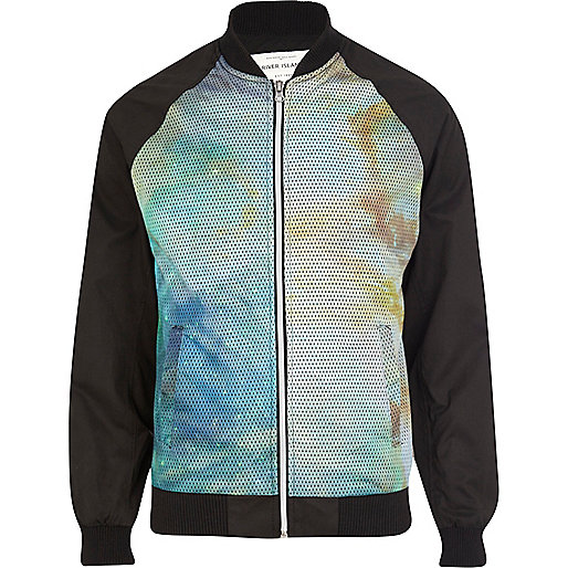 Black cosmic print mesh panel bomber jacket