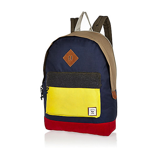 Navy colour block Bellfield backpack