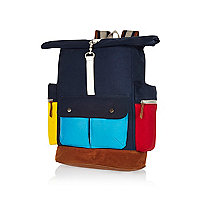 Navy Bellfield colour block backpack