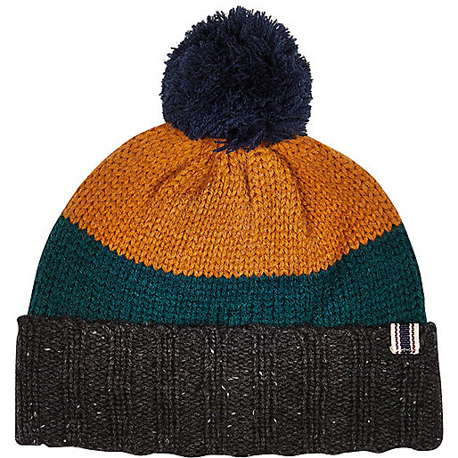 Green Bellfield colour block beanie hat