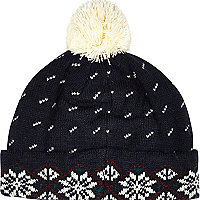 Navy Bellfield fair isle beanie hat