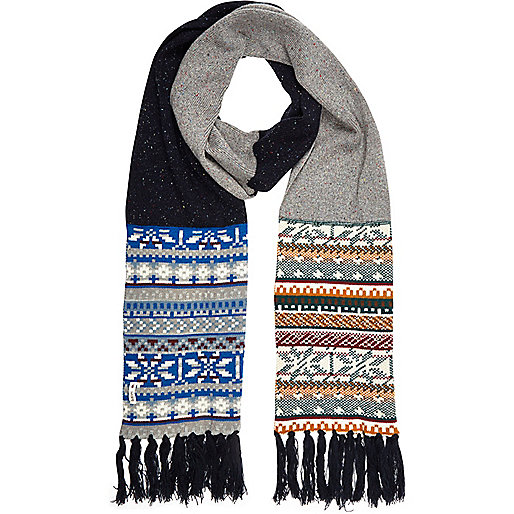Grey Bellfield colour block fair isle scarf