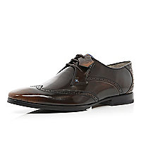 Brown patent Oliver Sweeney wingtip brogues