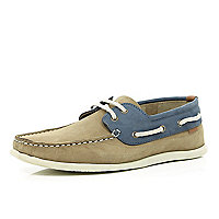 Stone two-tone boat shoes