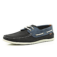 Navy two-tone slim boat shoes