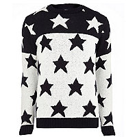 Navy two-tone star jumper