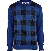 Blue check front jumper