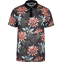 Navy tropical floral print mesh polo shirt