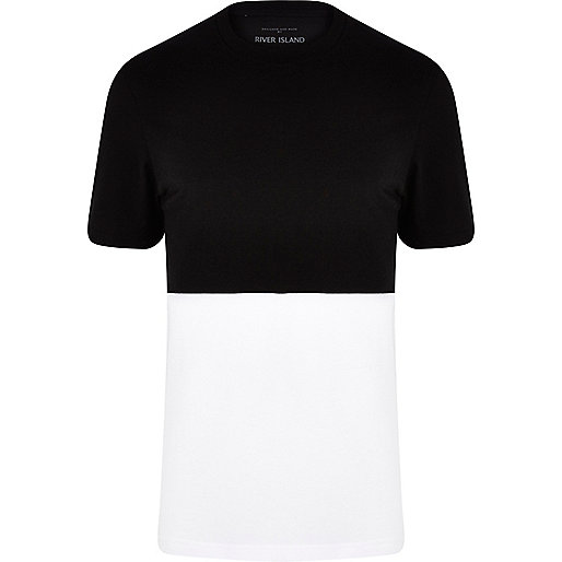 Black two-tone crew neck t-shirt