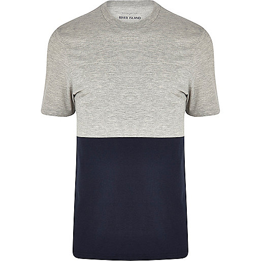 Grey marl two-tone crew neck t-shirt